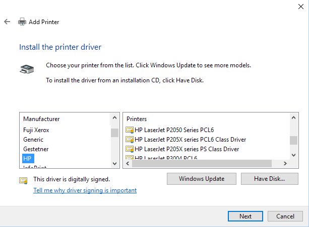 Win10 Print Driver Selection